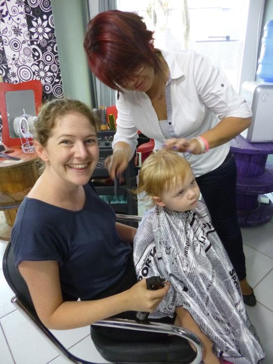 Amy's first hair cut